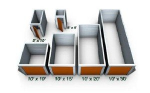 open view of storage units